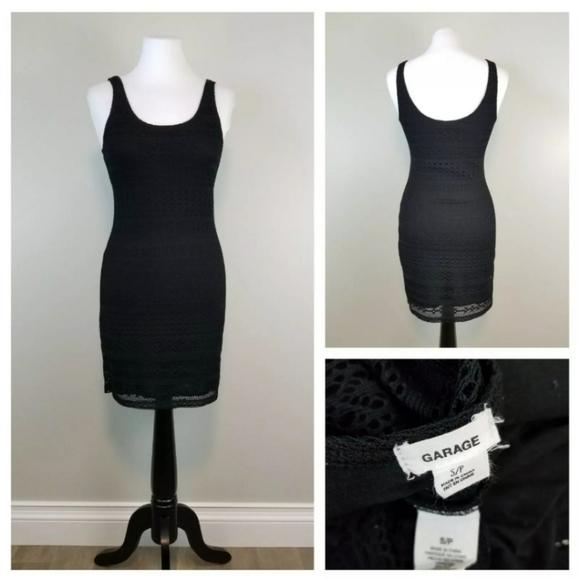 Garage S Black Crochet Overlay Bodycon Mini Dress